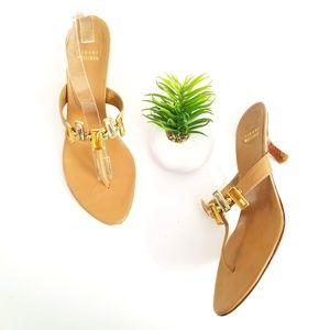 STUART WEITZMAN Thong Sandals Heels Tan Studded 10
